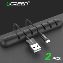 UGREEN 2Pcs Cable Clips Holder Desktop Cable Management System Cable Organizer For Power Cords And Charging Cables Black