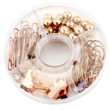 xzante 65 PCS Decorative Paper Clips and Set,Multi-Kind Push-Pin Map Tacks Long Tail Clip Paper Clip Pin Clip for School,Home & Office (Rose Gold)