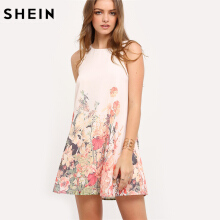 SHEIN Women Multicolor Sleeveless Flower Print Bohemian Summer Round Neck Tailor Cute Straight Dress