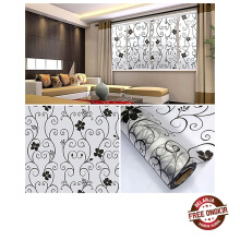 Farfi Removable UV Proof Black Flower Leaf Vine Frosted Glass Window Sticker Decal as the pictures