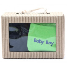 Cribcot Gift Set Booties Plain Navy Blue & Mitten Baby Boy Lime Green El Blue