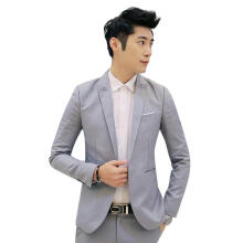 Farfi Men's One Button Suit Coat Wedding Business Casual Slim Lapel Jacket