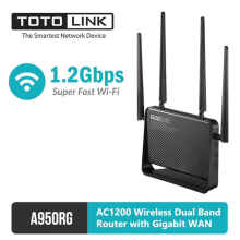 TOTOLINK - Wireless Dual Band Router with Gigabit WAN AC1200 - A950RG