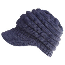 Winter Ponytail Outdoor Sport Baseball Cap Warm Knitted Hat for Women Vintage