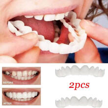 Farfi 2Pcs/Set Comfort Fit Flex White Fake Teeth Cover Top Veneer Denture Dental Kit as the pictures