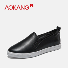 AOKANG women's flats slip on loafers spring autumn women low cut shoes genuine leather women casual shoes