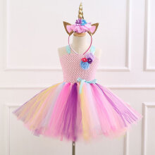 93264 Girls European and American mesh stage performance Party princess dress 4T-5Y
