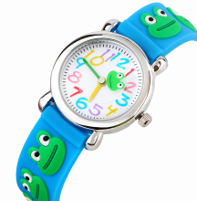 Keymao Frog Waterproof 3D Cute Cartoon Silicone Wristwatches Gift for Little Girls Boy Kids Children Baby Blue
