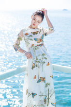 Allgood Fashion Autumn Painting Butterfly Holiday Women Dress Sweet Maxi Dress Charming Gauze Flowers Party Gown Long Dresses