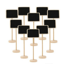 10Pcs Mini Wooden Chalkboard Table Number Wedding Decor Write Information black