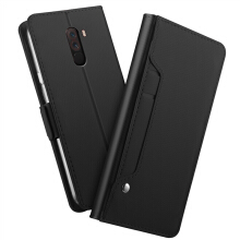 MOONMINI Xiaomi Pocophone F1 Case PU Leather Wallet Case Flip Stand Cover with Mirror and Card Slots Black