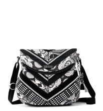 Sakroots Foldover Crossbody Bag Black & White Wanderlust White Black