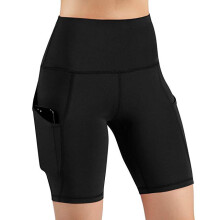 Women High Waist Out Pocket Yoga Short Running Athletic Yoga Shorts Pants_Black_L