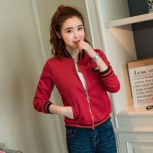 Women short coat ladies bomber jackets Solid full lined loose overcoat red M