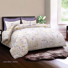 KING RABBIT Bedcover Single Motif Holiday - Ungu/ 140 x 230cm Purple