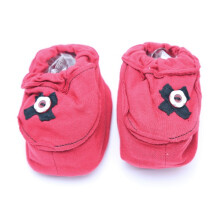 Cribcot Booties with Ribbon - Red & Black  3 -6M