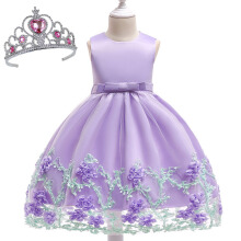 SESIBI Size 70~150 Girls Princess Dresses Beautifyl Flower Dress Kids Elegant Party Bow-knot Clothes Wedding Gown -Purple -