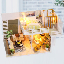 Jantens New Furniture DIY Doll House Wooden Miniature Doll Houses Furniture Dollhouse Toys for Photo Color