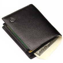 AIM Q002 Men's leather Cowhide two fold Vertical section leather card holder wallet multi-function wallet-Black