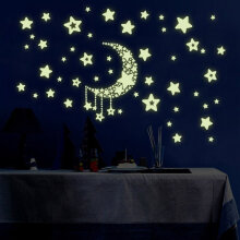 [COZIME] DIY Night Light Glow In The Dark Moon Stars Wall Stickers Home Decor Decals Moon Color1