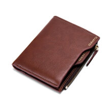 COZIME Antimagnetic Men Wallet Anti RFID Male Zipper Purse Short PU Leather Brown