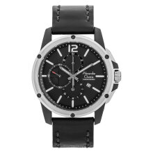 Alexandre Christie AC 6486 MC LTBBABA Chronograph Men Black Dial Black Leather Strap [ACF-6486-MCLTBBABA]