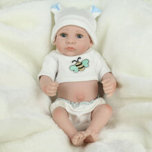 [COZIME] 28cm Kids Reborn Baby Doll Washable Soft Vinyl Lifelike Newborn Doll Girl Boy White1
