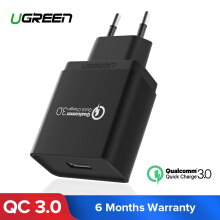 UGREEN QC3.0 Quick Charger 3.0 USB Charger 18W Fast Mobile Phone Charger (Quick Charge 2.0 Compa tible) -Black