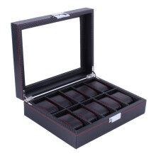 Modern Design 10 Grids Wooden Watch Box Carbon Fibre Pattern Watch Storage Box Black