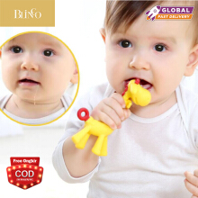 BLINGO Baby teether giraffe gum stick food grade silicone tooth necklace hanging toy baby dental care chew toy Yellow