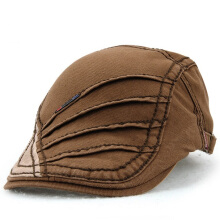 Zanzea 0051Unisex Cotton Stripe Beret Hat Duckbill Golf Flat Buckle Visor Cabbie Cap For Men Women Coffee