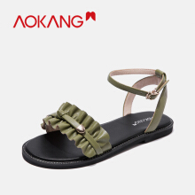 Aokang women sandals flat summer open toe clear Shoes Woman Buckle Strap ladies roman beach Jelly Shoes Female sandals