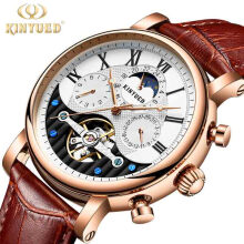 KINYUED Creative Automatic Men Watches 2018 Luxury Brand Moon Phase Mens Mechanical Skeleton Watch