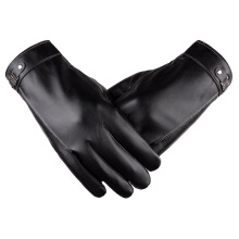 SiYing Men's fashion business leather imported gloves leather warm plus velvet thick gloves