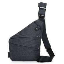 [LESHP]Men Waterproof Nylon Single Shoulder Bag Business Chest Anti-Theft Dark Grey