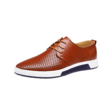 BESSKY Summer Style Men's Summer Breathable Business Leisure Hollow Solid Leather Shoes_
