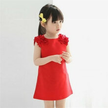 [COZIME] Summer Girls Fashion Cotton Sleeveless Solid Color Pullover Princess Dress Red1  90cm
