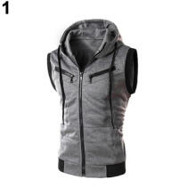 Farfi Men's Sports Drawstring Hooded Zipper Slim Fit Vest Waistcoat Outerwear