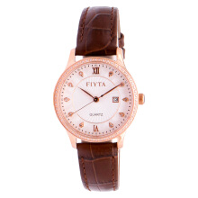 FIYTA Ladies Classic White Dial Brown Leather Strap [L802030.PWRD]
