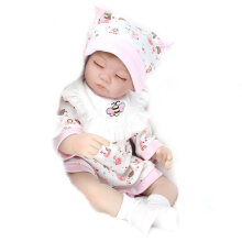 [COZIME] 16 Inch Realistic Body Sleeping Baby Doll Kids Handmade Girl Toy With Pink Bib Multi Color1