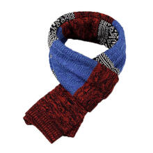 Farfi Fashion Unisex Warm Winter Long Comfortable Patchwork Casual Scarf Wrap Gift Royalblue + Red