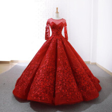 Xi Diao Luxury Full Sleeve Brush Train Women Wedding Dress
