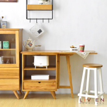 LIVIEN Furniture Meja Makan Lipat Maple Story - Brown