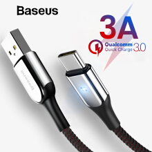 Baseus USB Type C Cable Quick Charge 3.0 For Samsung S9 S8 Plus Xiaomi Oneplus 6 Lighting USB-C Charger Cable
