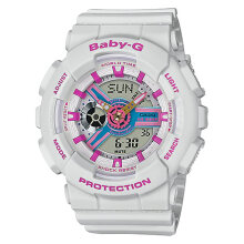 Casio Baby-G BA-110NR-8ADR Water Resistant 100M Digital Analog Dial White Resin Band [BA-110NR-8ADR]