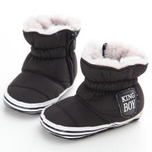 Farfi Baby Boy Warm Velvet Lining Snow Boots Anti-slip Sole Prewalker Crib Shoes