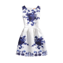 SESIBI Size 130~160 Girls Dresses Children Summer Dress Princess Costume Teens Fashion Printing Wear - Classic Blue Flowers -