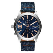Diesel DZ4450 Mega Chief Analog Men Blue Dial Blue Denim Strap [DZ4450]