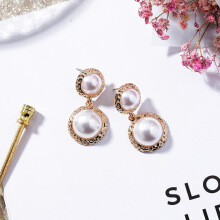 YOOHUI European and American fashion retro size pearl alloy earrings Main picture