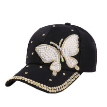 [OUTAD] Diamond Butterfly Baseball Cap Ladies Summer Sun Hat Personality Black